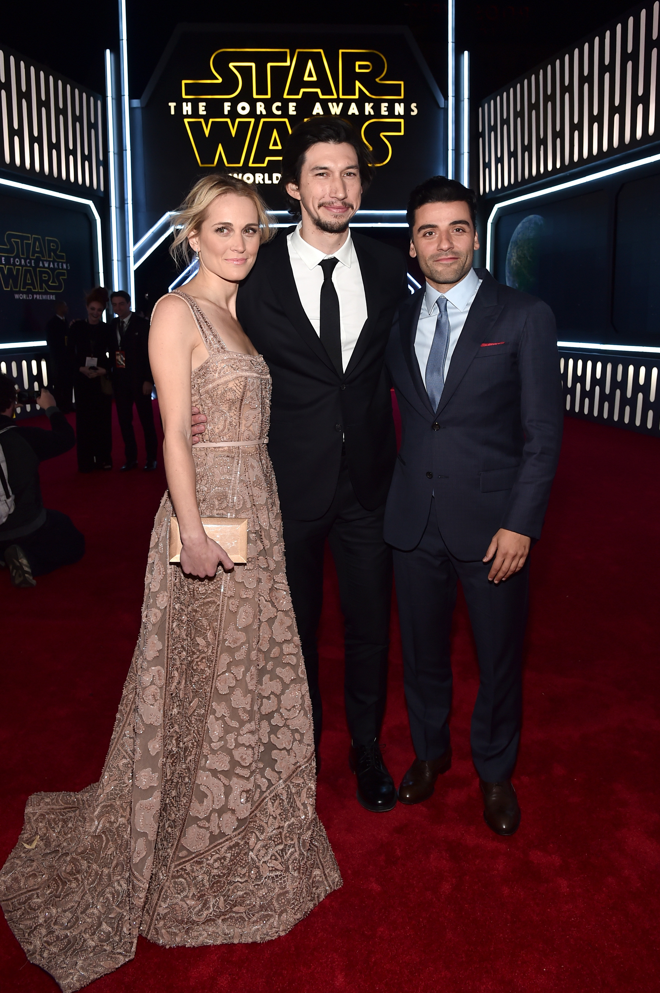 HOLLYWOOD, CA - DECEMBER 14: (L-R) Actors Joanne Tucker, Adam Driver and Oscar Isaac attend the World Premiere of ?Star Wars: The Force Awakens? at the Dolby, El Capitan, and TCL Theatres on December 14, 2015 in Hollywood, California.  (Photo by Alberto E. Rodriguez/Getty Images for Disney) *** Local Caption *** Adam Driver;Joanne Tucker;Oscar Isaac