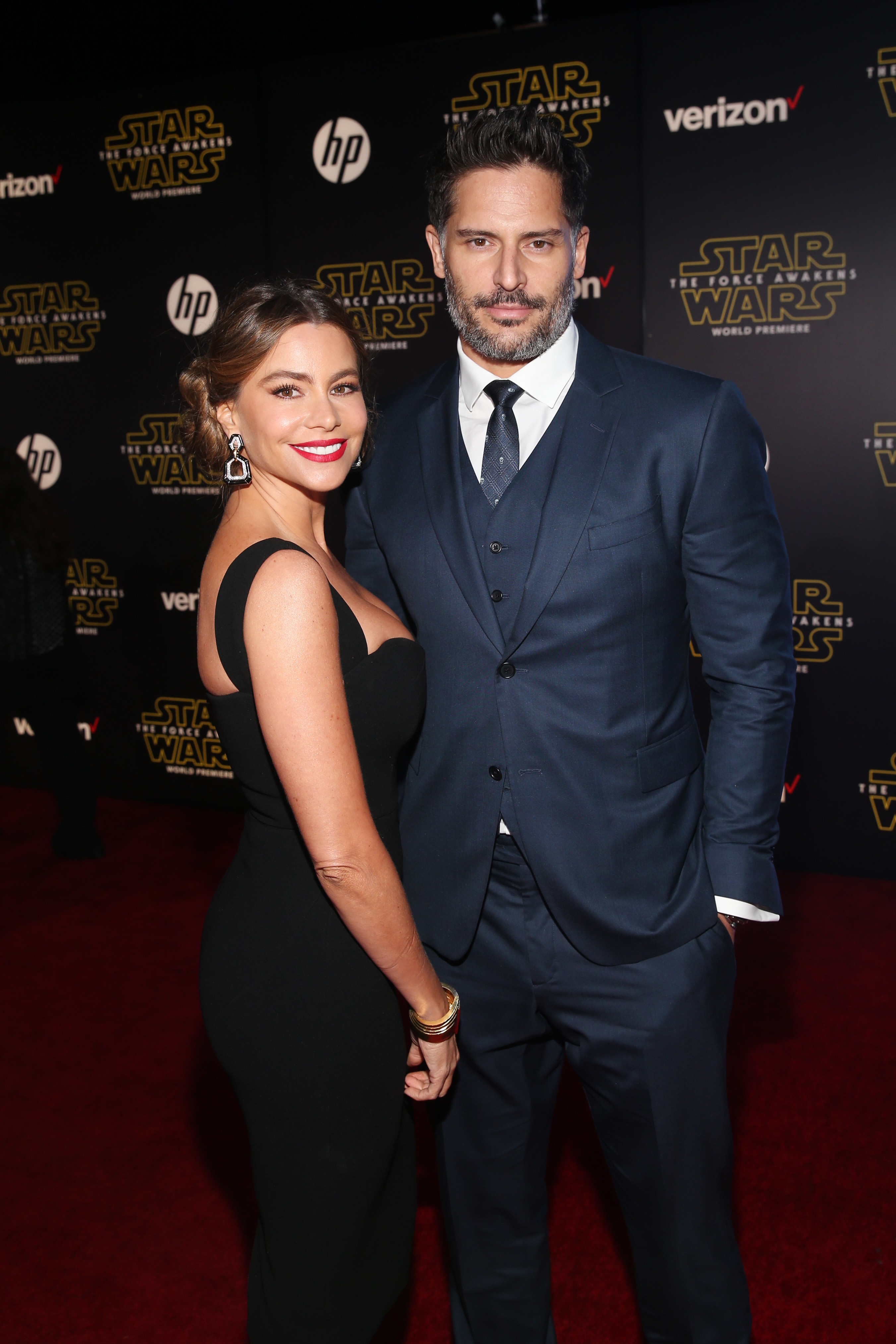 HOLLYWOOD, CA - DECEMBER 14:  Actors Sof?a Vergara (L) and Joe Manganiello attend the World Premiere of ?Star Wars: The Force Awakens? at the Dolby, El Capitan, and TCL Theatres on December 14, 2015 in Hollywood, California.  (Photo by Jesse Grant/Getty Images for Disney) *** Local Caption *** Sof?a Vergara;Joe Manganiello