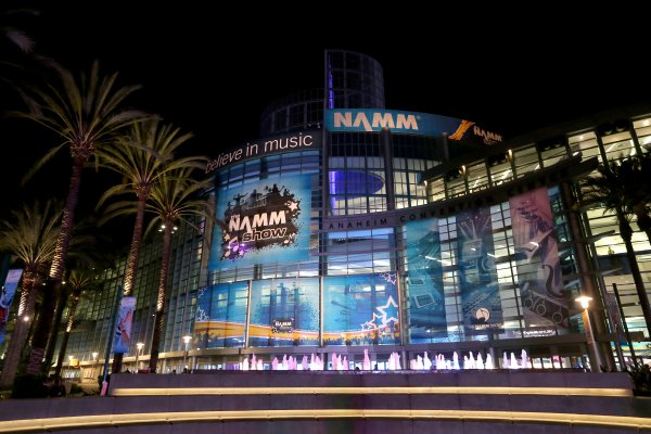 ANAHEIM, CA - JANUARY 20: The Anaheim Conevntion Center is seen with NAMM signage at the 2016 NAMM Show and First Look at the Anaheim Convention Center on January 20, 2016 in Anaheim, California. (Photo by Jesse Grant/Getty Images for NAMM)