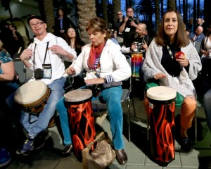 """""""ANAHEIM, CA - JANUARY 22:  Convention goers participate in the drum circle during day 2 of the 2016 NAMM Show at the Anaheim Convention Center on January 22, 2016 in Anaheim, California.  (Photo by Jesse Grant/Getty Images for NAMM)"""""""