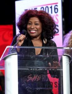 """""""ANAHEIM, CA - JANUARY 22:  Singer Chaka Khan speaks on stage at the She Rocks Awards during day 2 of the 2016 NAMM Show at the Anaheim Hilton on January 22, 2016 in Anaheim, California.  (Photo by Jesse Grant/Getty Images for NAMM)"""""""