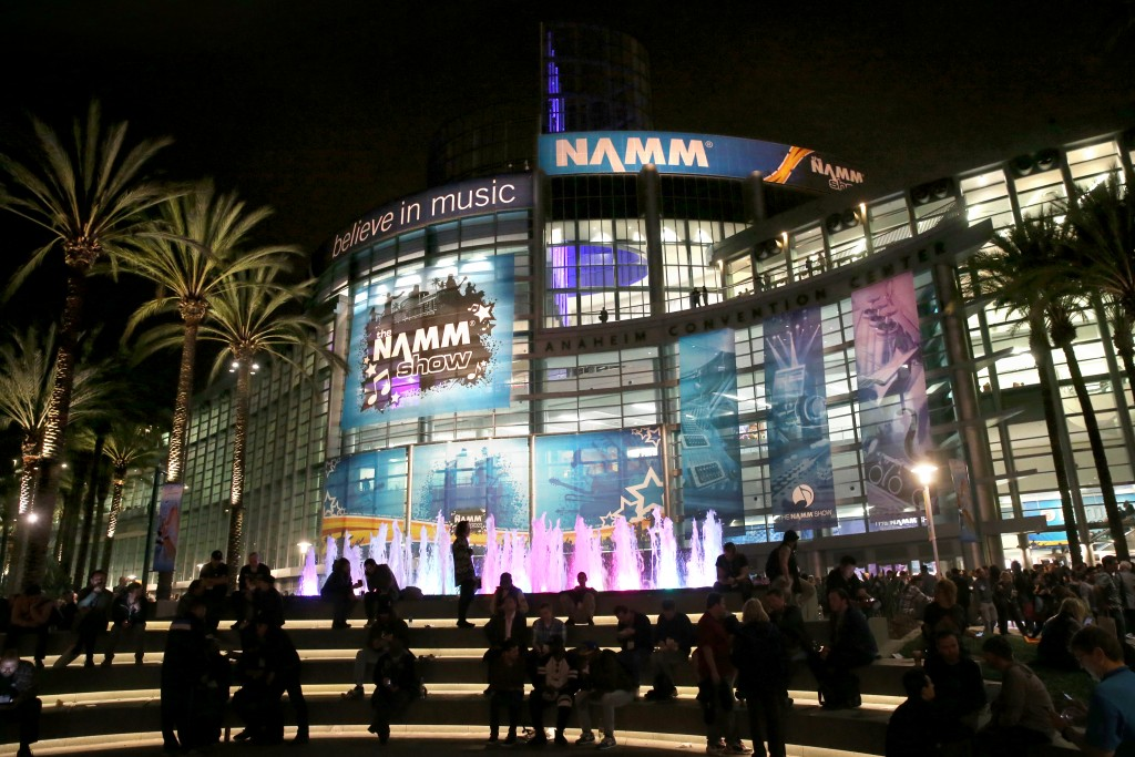 """""""ANAHEIM, CA - JANUARY 22: The Anaheim Conevntion Center is seen with NAMM signage during day 3 of the 2016 NAMM Show at the Anaheim Convention Center on January 23, 2016 in Anaheim, California. (Photo by Jesse Grant/Getty Images for NAMM)"""""""