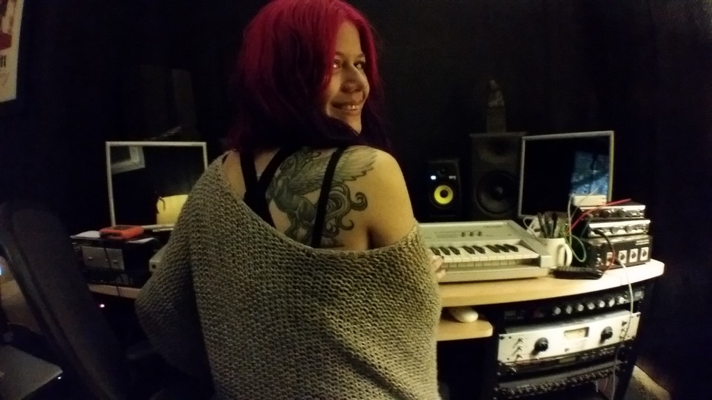 allison at keyboard. tattoo