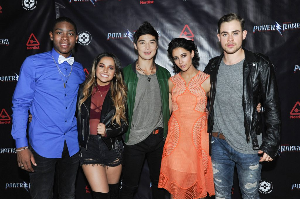 "RJ Cyler, Becky G, Ludi Lin, Naomi Scott and Dacre Montgomery seen at Lionsgate ""The Power Rangers"" and Nerdist Party at 2016 Comic-Con on Thursday, July 21, 2016, in San Diego, Calif. (Photo by Richard Shotwell/Invision for Lionsgate/AP Images)"